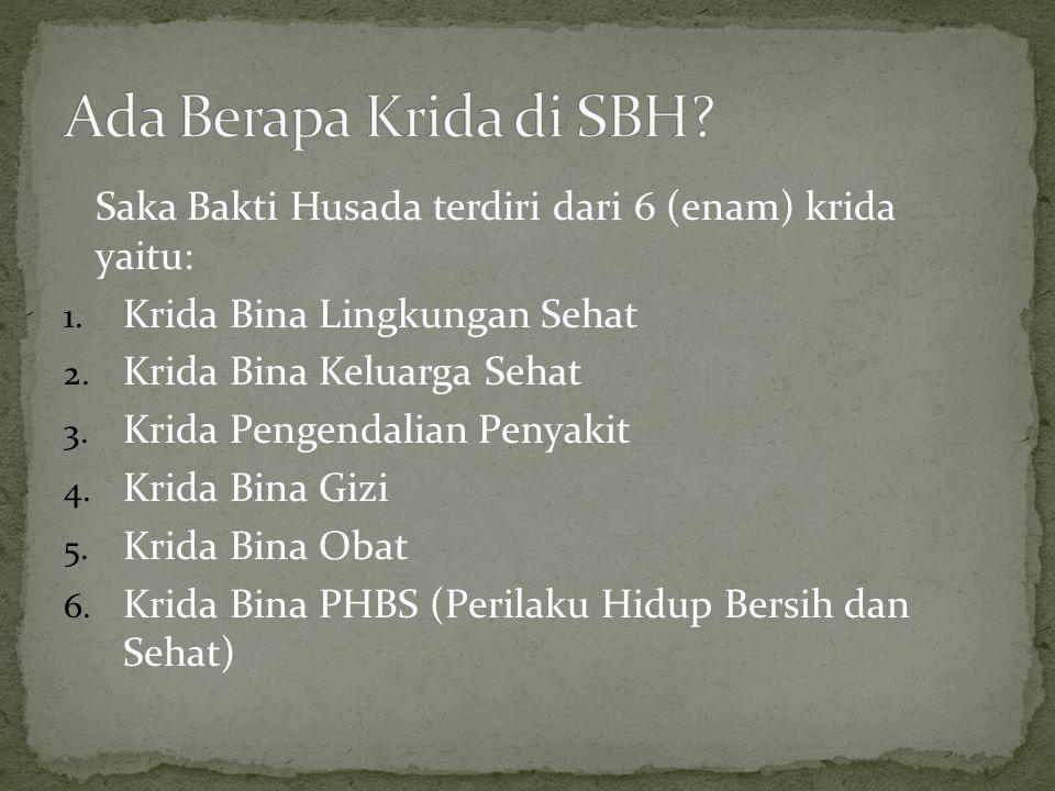 Ada Berapa Krida di SBH Saka Bakti Husada terdiri dari 6 (enam) krida yaitu: Krida Bina Lingkungan Sehat.
