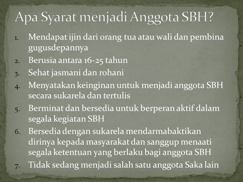 Apa Syarat menjadi Anggota SBH