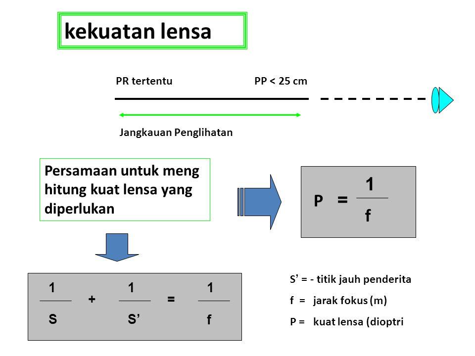 kekuatan lensa PP < 25 cm. Jangkauan Penglihatan. PR tertentu. Persamaan untuk meng hitung kuat lensa yang diperlukan.