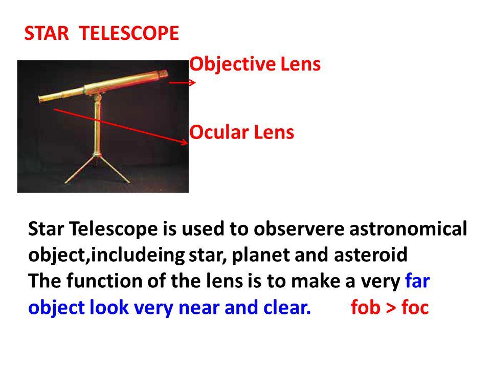 STAR TELESCOPE Objective Lens. Ocular Lens.