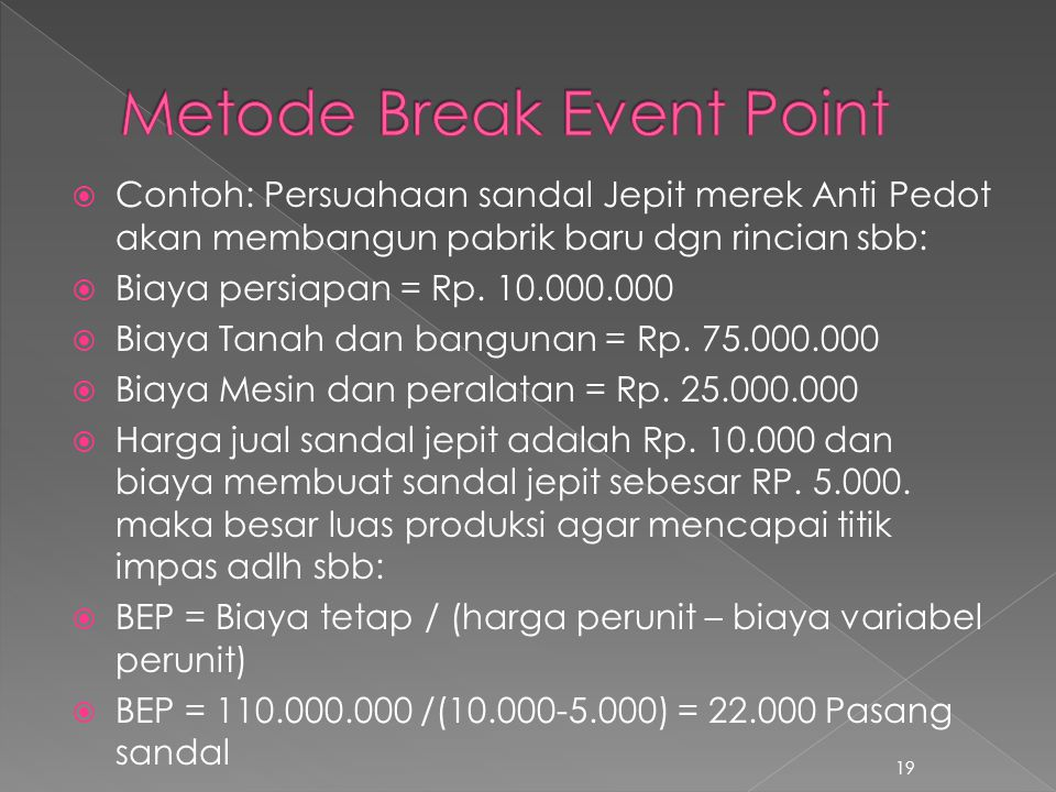 Metode Break Event Point