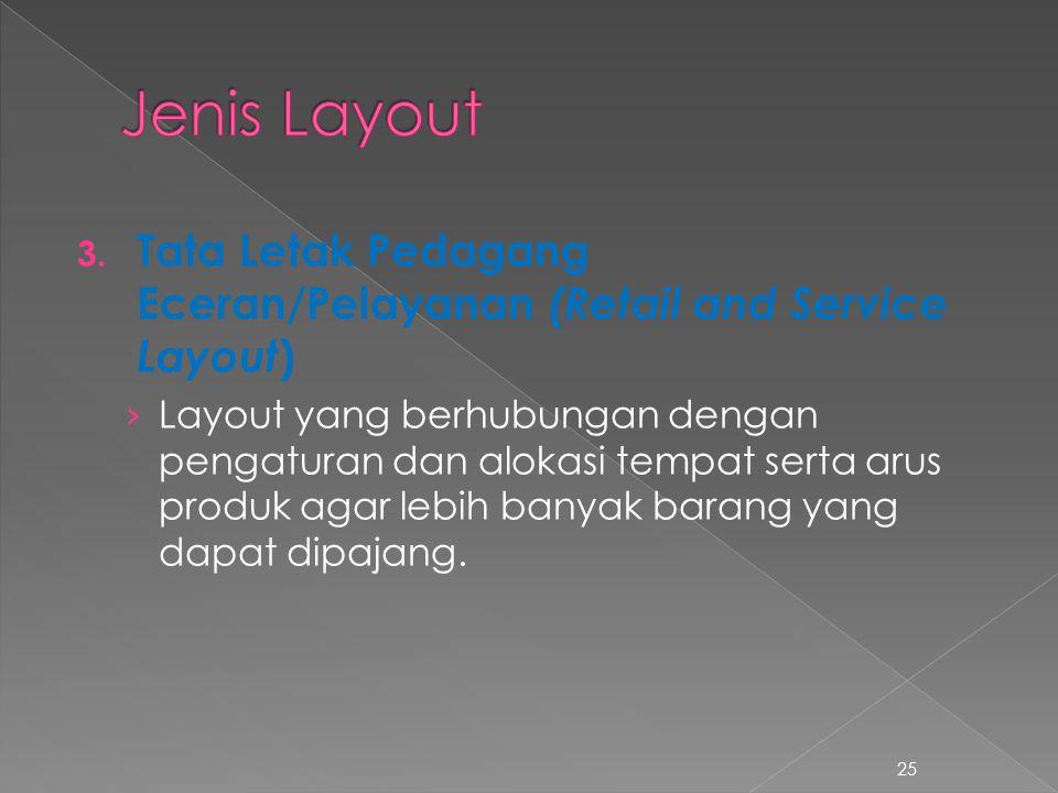 Jenis Layout Tata Letak Pedagang Eceran/Pelayanan (Retail and Service Layout)