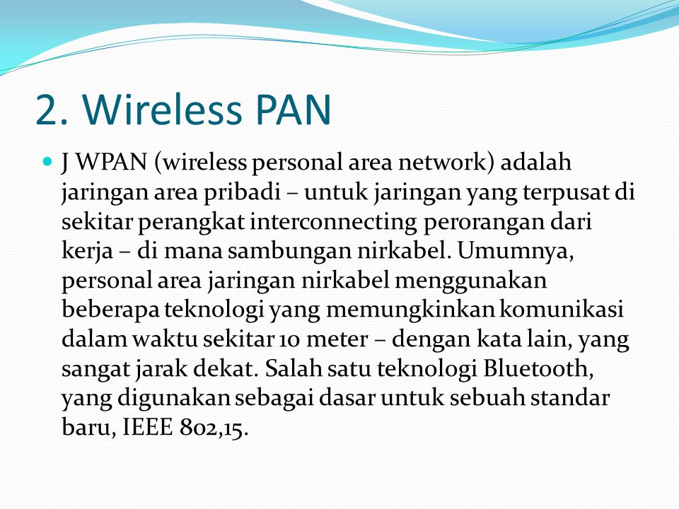 2. Wireless PAN