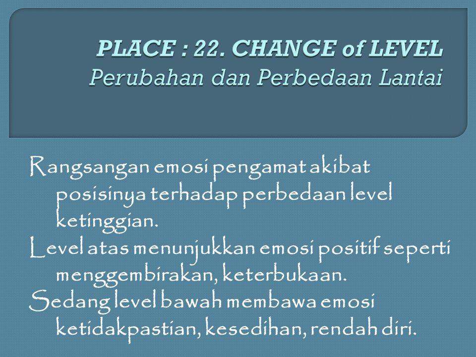 PLACE : 22. CHANGE of LEVEL Perubahan dan Perbedaan Lantai