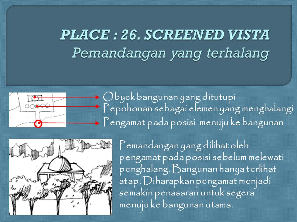 PLACE : 26. SCREENED VISTA Pemandangan yang terhalang
