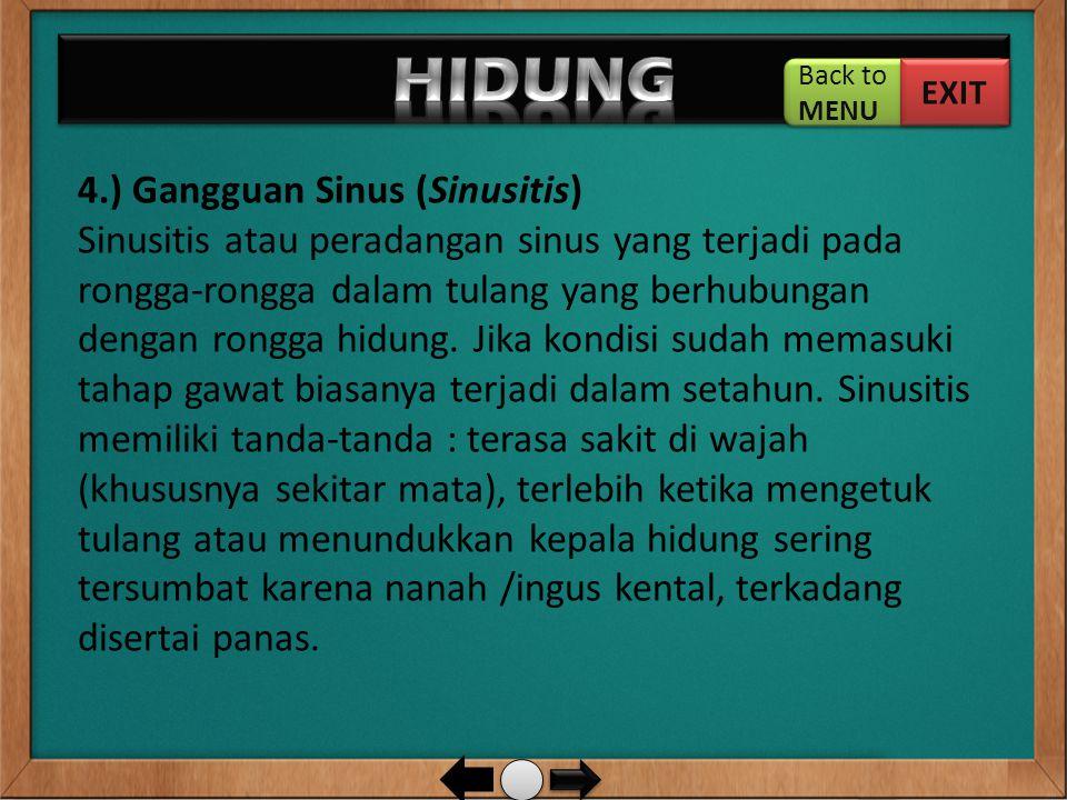 HIDUNG 4.) Gangguan Sinus (Sinusitis)