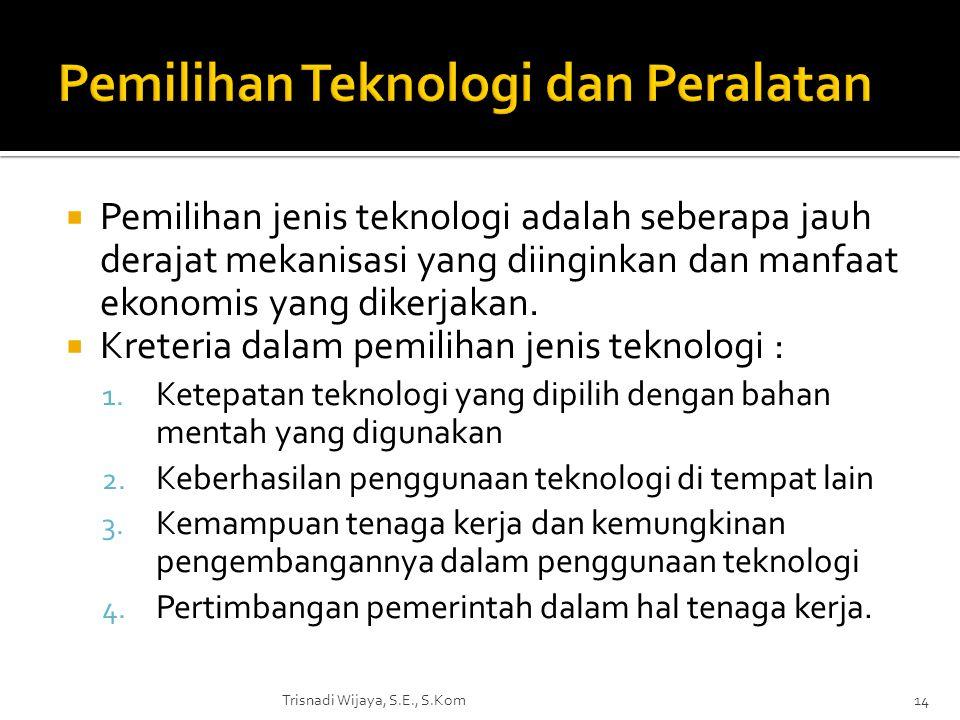 Pemilihan Teknologi dan Peralatan