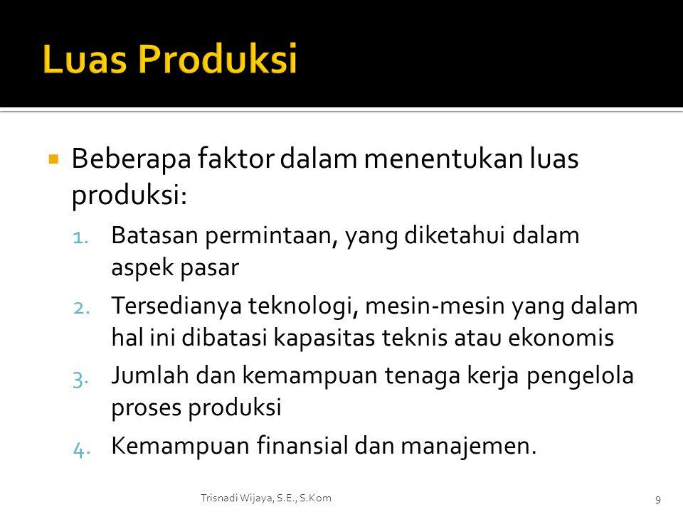 Luas Produksi Beberapa faktor dalam menentukan luas produksi: