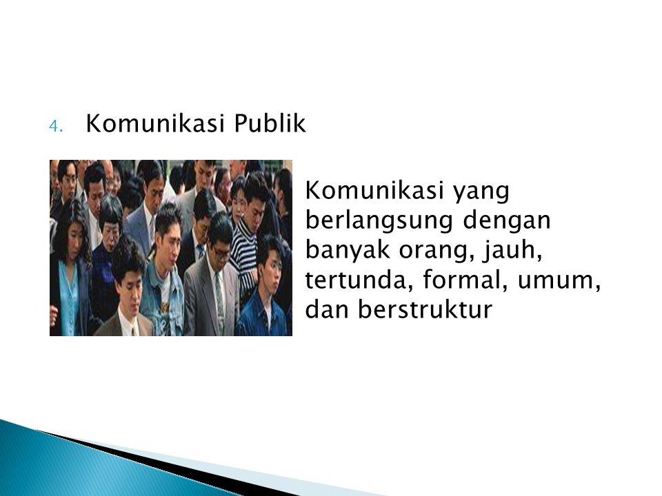 Komunikasi Publik Komunikasi yang berlangsung dengan banyak orang, jauh, tertunda, formal, umum, dan berstruktur.
