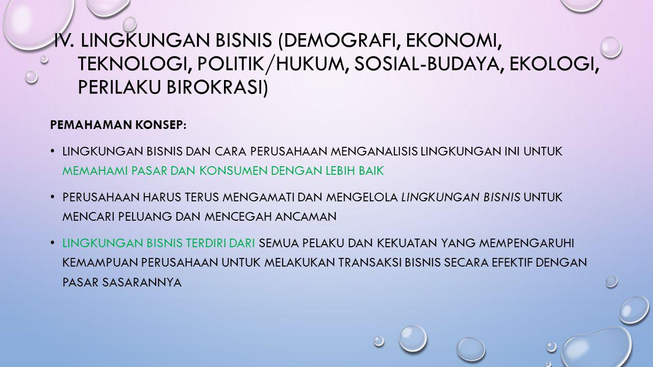 IV. Lingkungan Bisnis (Demografi, Ekonomi, Teknologi, politik/hukum, sosial-budaya, ekologi, perilaku birokrasi)