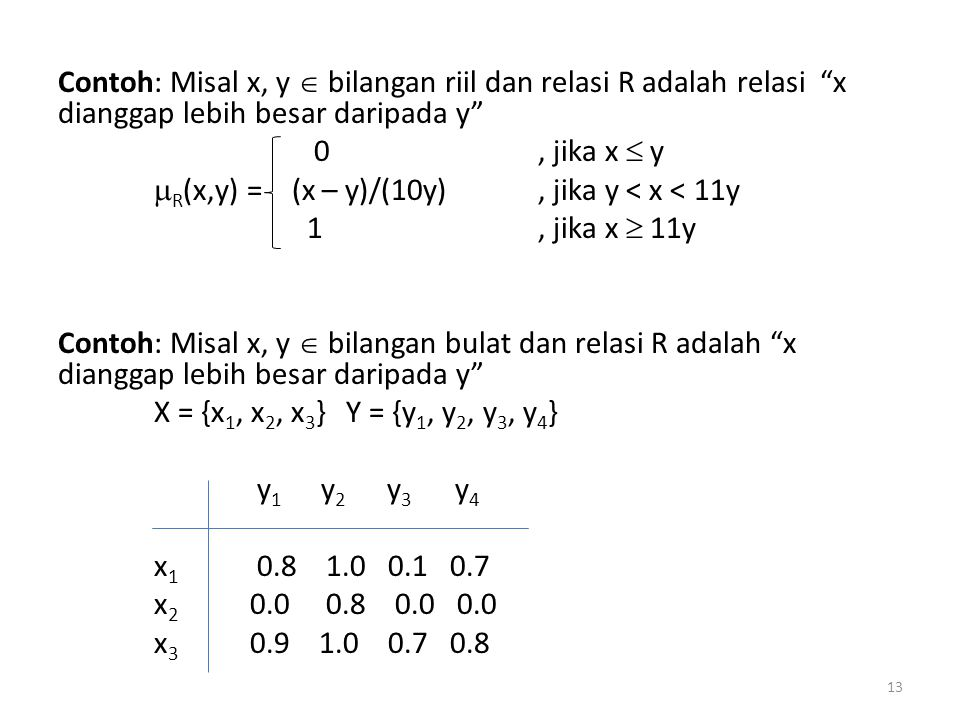 Contoh: Misal x, y  bilangan riil dan relasi R adalah relasi x dianggap lebih besar daripada y
