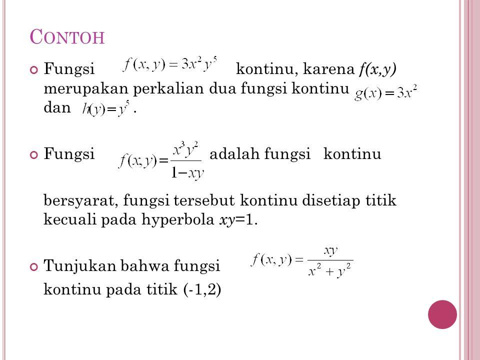 Contoh Fungsi kontinu, karena f(x,y) merupakan perkalian dua fungsi kontinu dan .