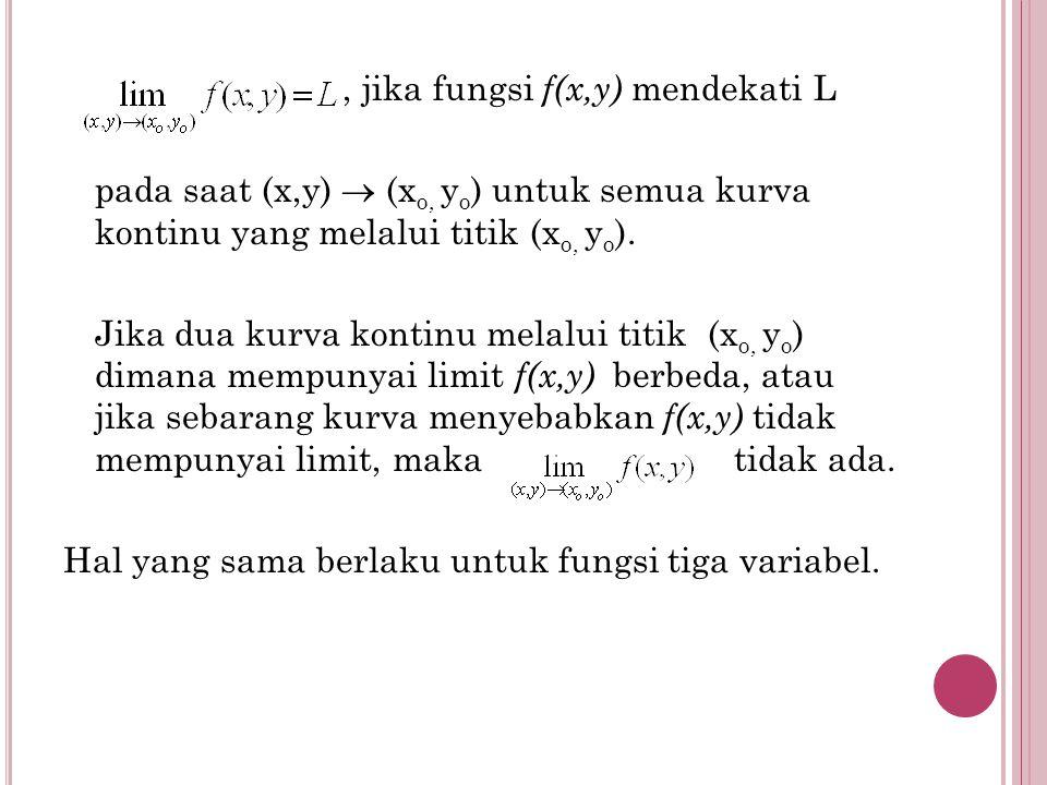 , jika fungsi f(x,y) mendekati L pada saat (x,y)  (xo, yo) untuk semua kurva kontinu yang melalui titik (xo, yo).