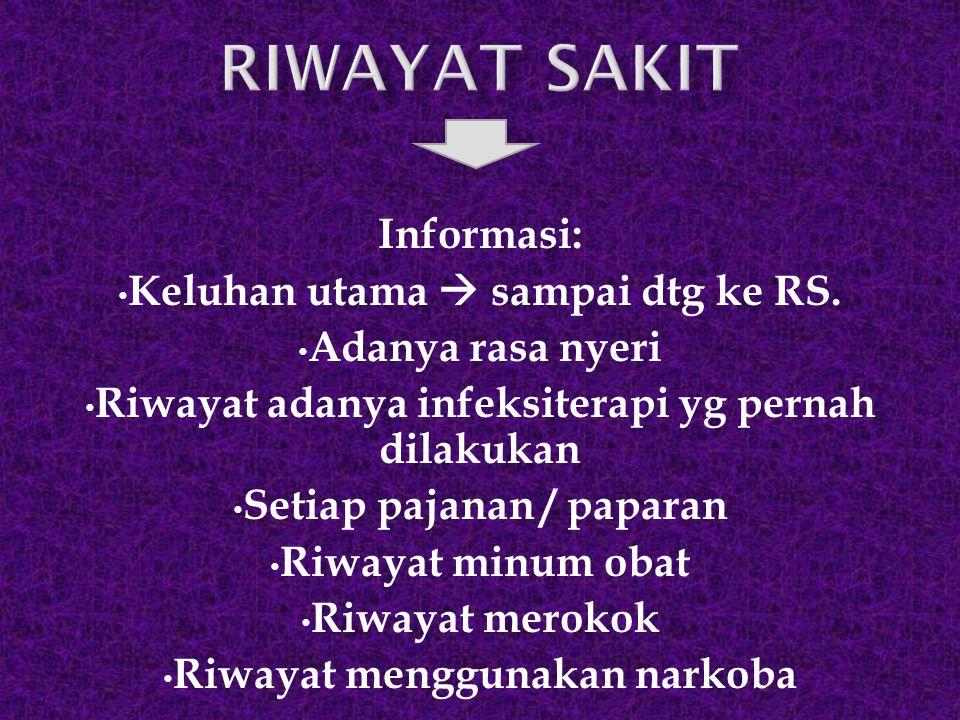 RIWAYAT SAKIT Informasi: Keluhan utama  sampai dtg ke RS.
