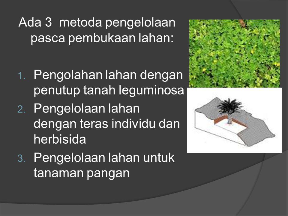 Ada 3 metoda pengelolaan pasca pembukaan lahan: