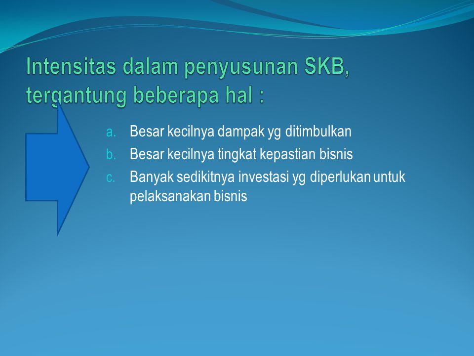 Intensitas dalam penyusunan SKB, tergantung beberapa hal :