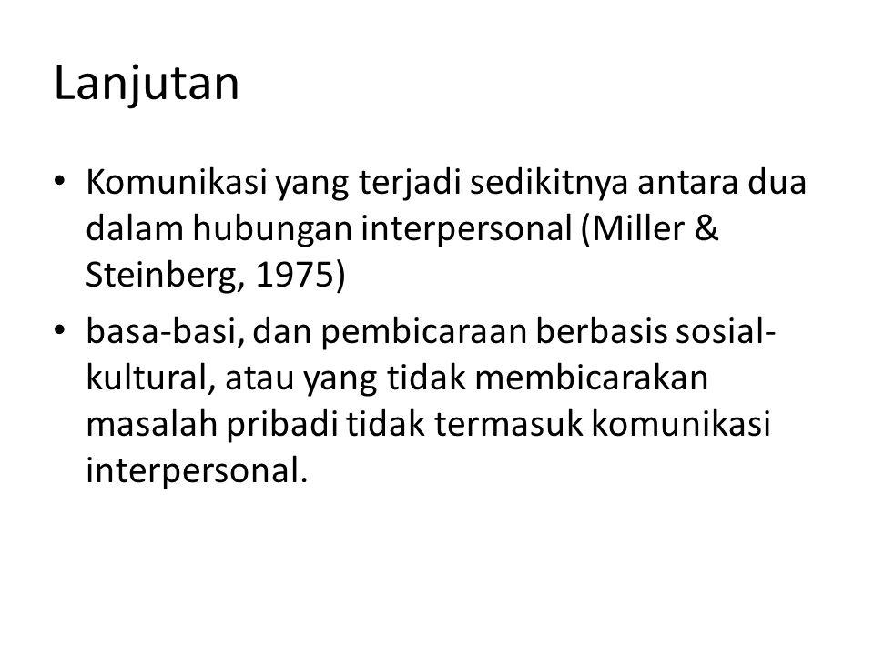 Lanjutan Komunikasi yang terjadi sedikitnya antara dua dalam hubungan interpersonal (Miller & Steinberg, 1975)