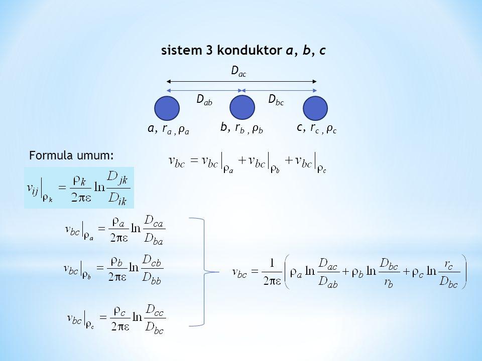 sistem 3 konduktor a, b, c Dab a, ra , a Dac Dbc c, rc , c