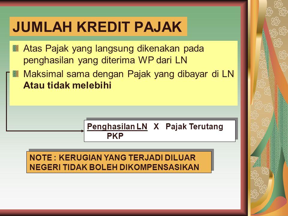 JUMLAH KREDIT PAJAK Atas Pajak yang langsung dikenakan pada penghasilan yang diterima WP dari LN.