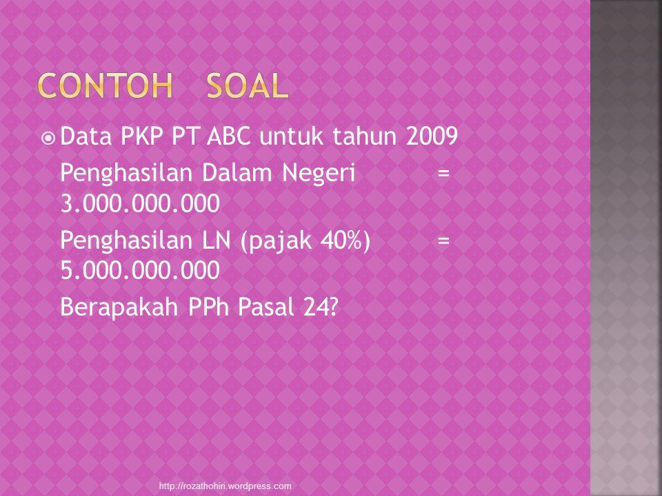 Contoh Soal Data PKP PT ABC untuk tahun 2009