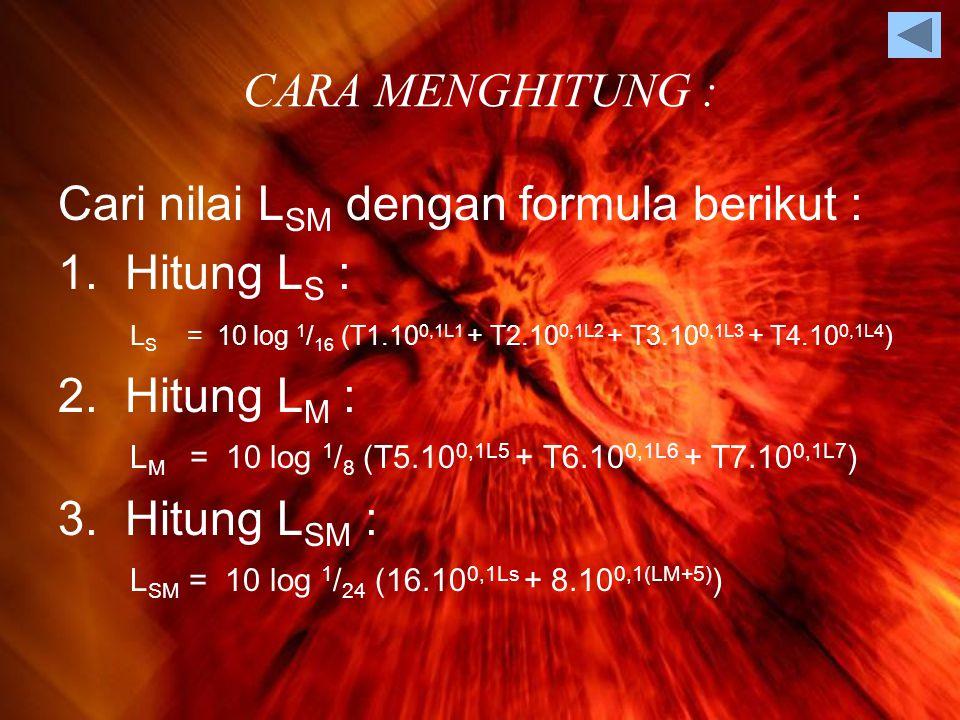 Cari nilai LSM dengan formula berikut : Hitung LS : 2. Hitung LM :