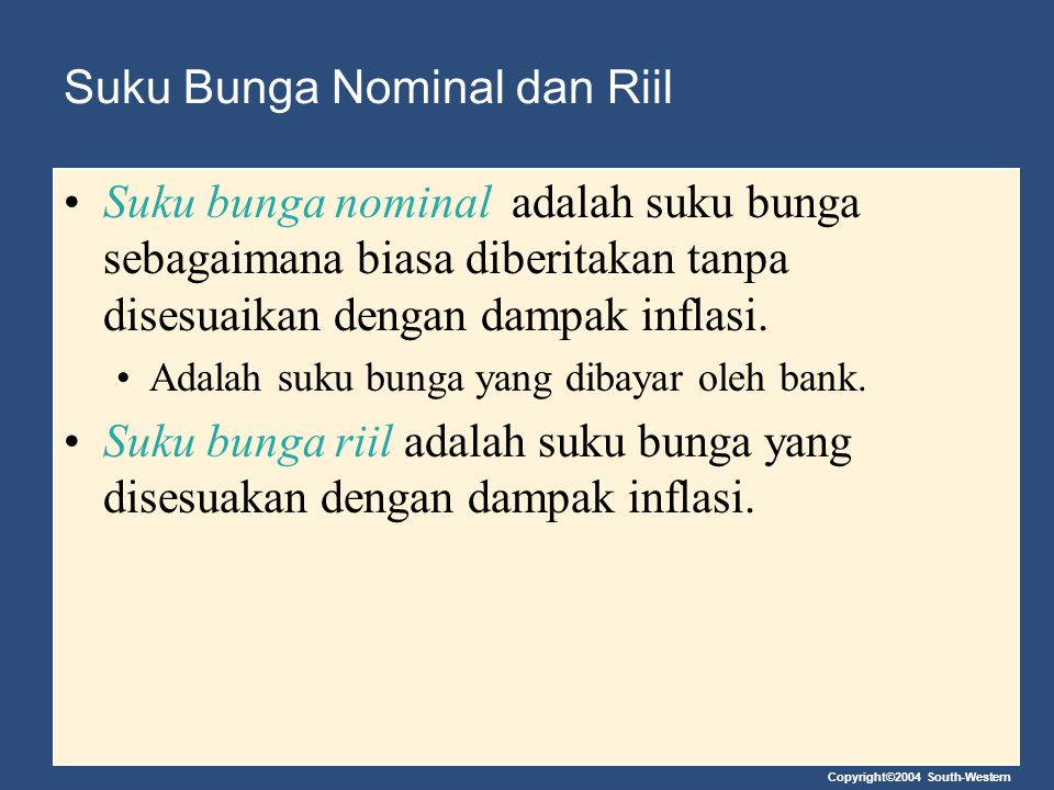 Suku Bunga Nominal dan Riil