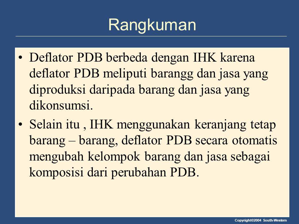 Rangkuman Deflator PDB berbeda dengan IHK karena deflator PDB meliputi barangg dan jasa yang diproduksi daripada barang dan jasa yang dikonsumsi.