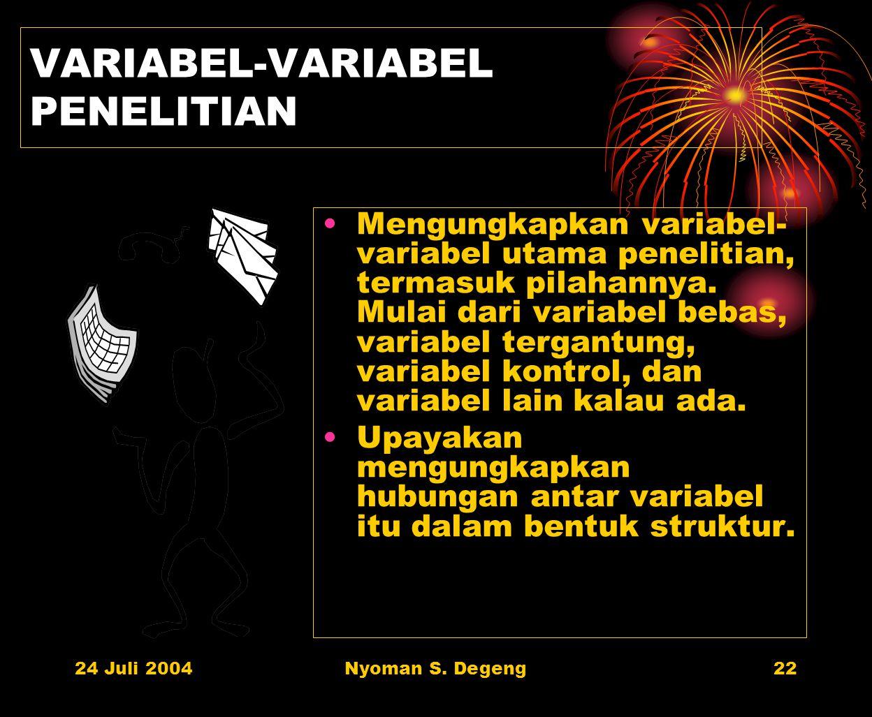 VARIABEL-VARIABEL PENELITIAN