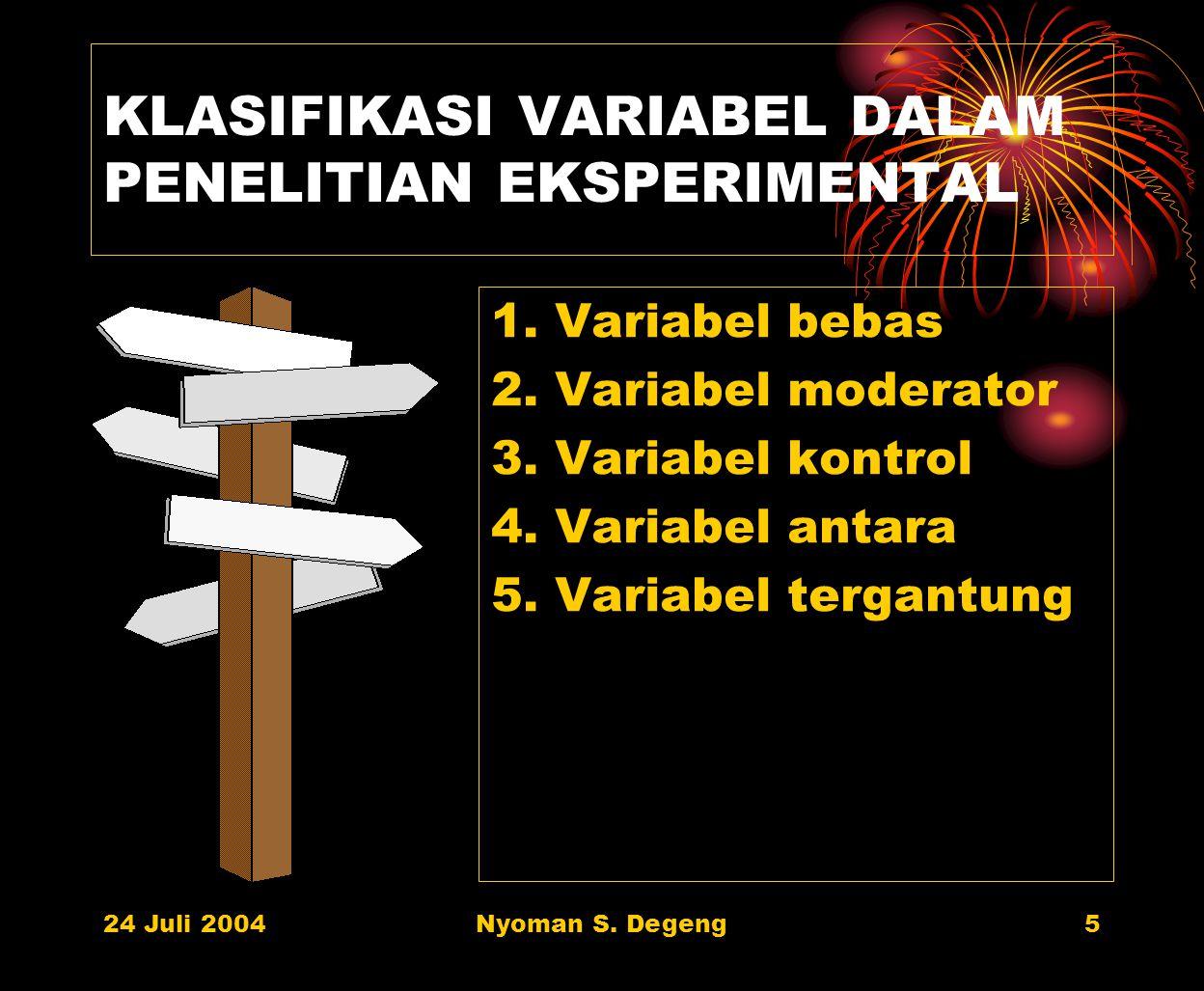 KLASIFIKASI VARIABEL DALAM PENELITIAN EKSPERIMENTAL
