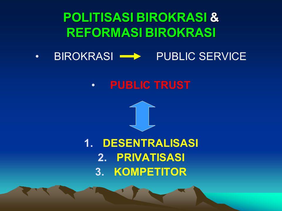 POLITISASI BIROKRASI & REFORMASI BIROKRASI