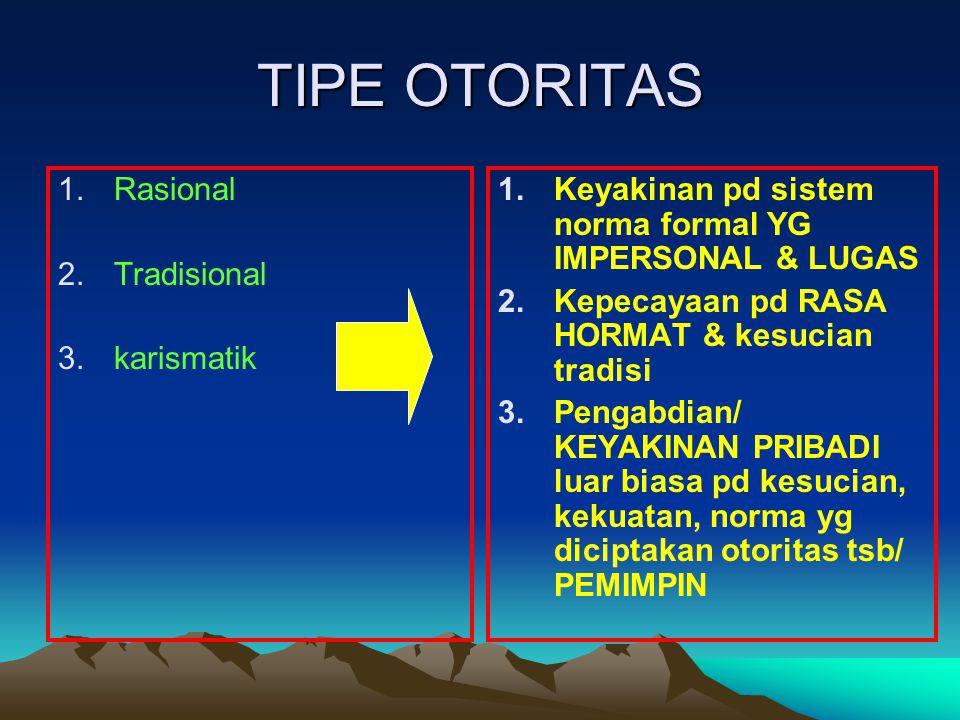 TIPE OTORITAS Rasional Tradisional karismatik