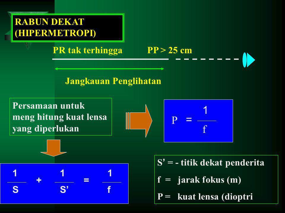 1 P = f RABUN DEKAT (HIPERMETROPI) PR tak terhingga PP > 25 cm