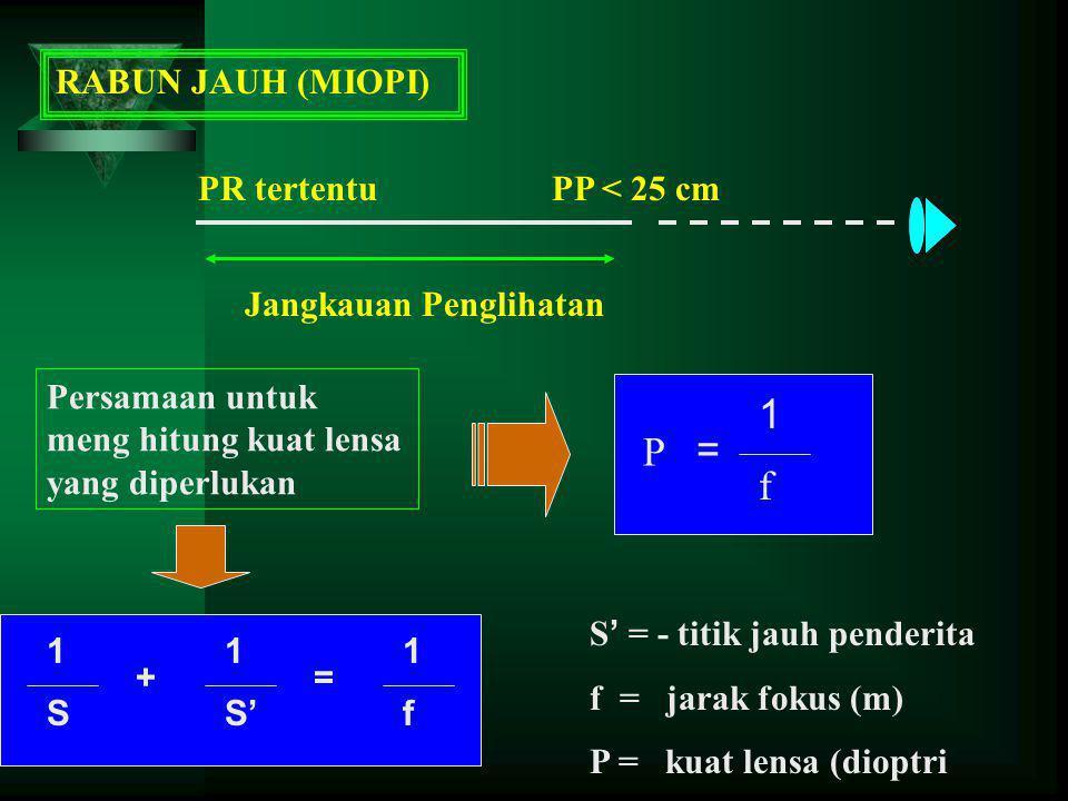 1 P = f RABUN JAUH (MIOPI) PR tertentu PP < 25 cm