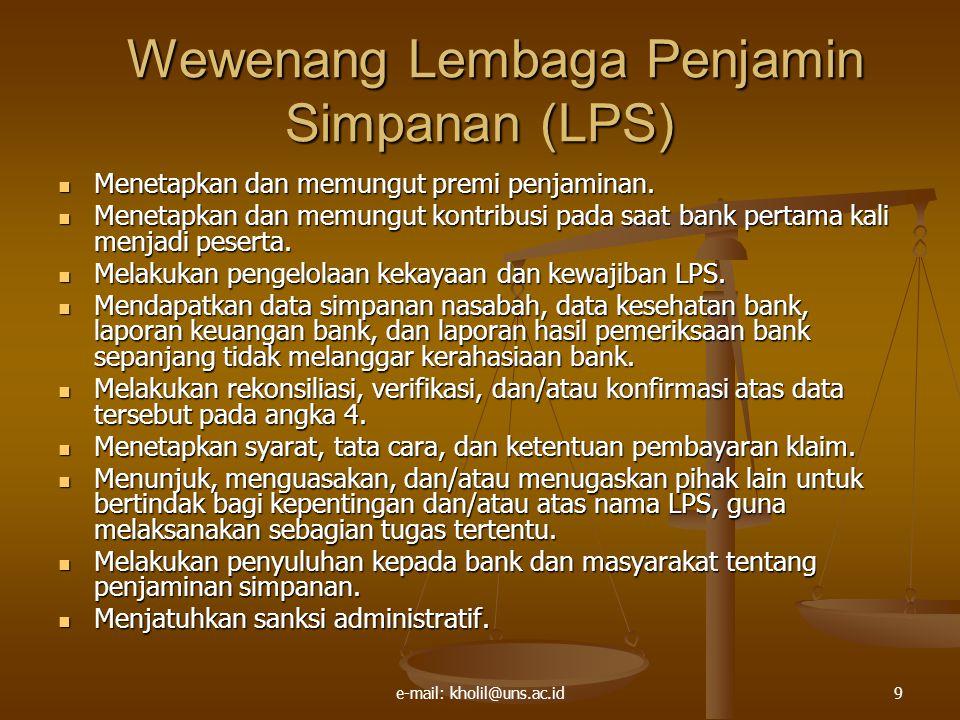 Wewenang Lembaga Penjamin Simpanan (LPS)