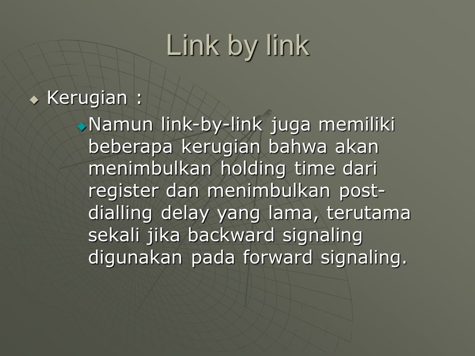Link by link Kerugian :