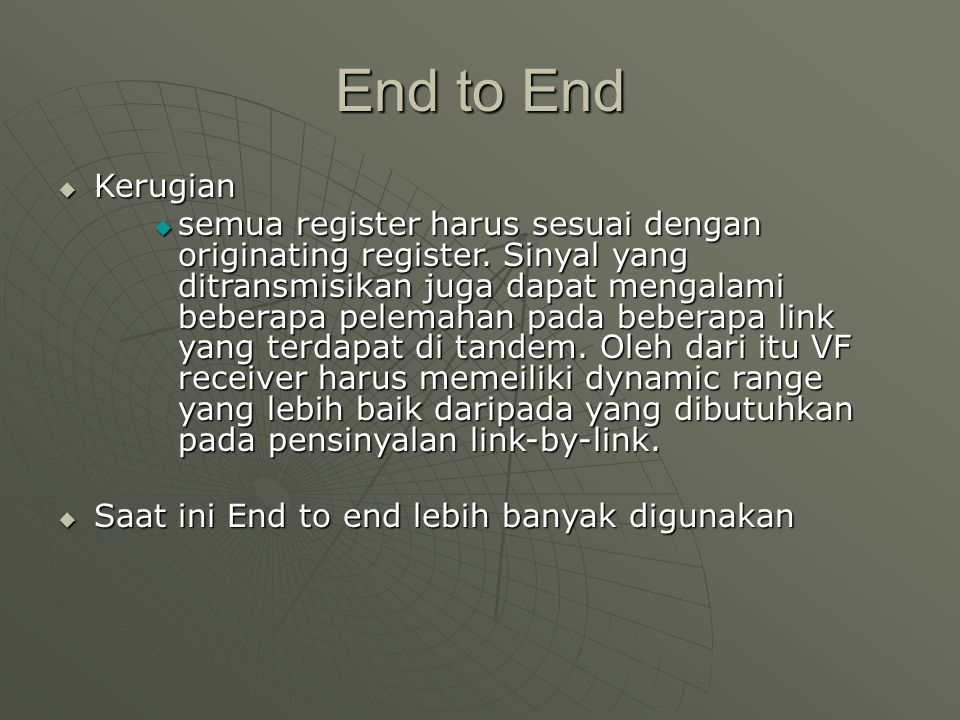 End to End Kerugian.