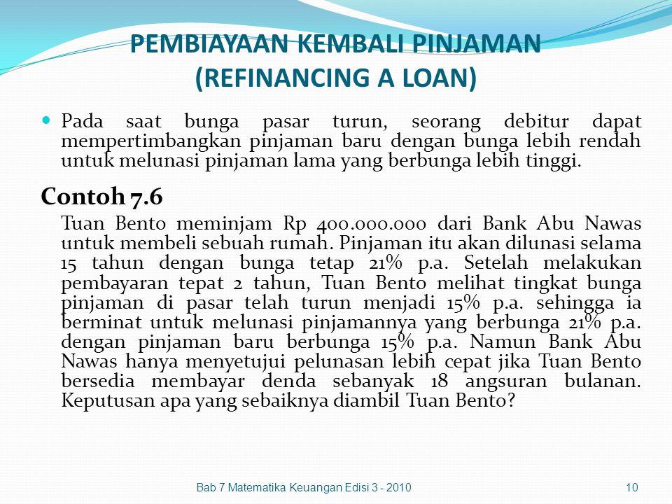 PEMBIAYAAN KEMBALI PINJAMAN (REFINANCING A LOAN)