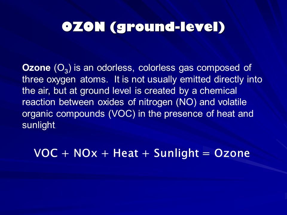 VOC + NOx + Heat + Sunlight = Ozone