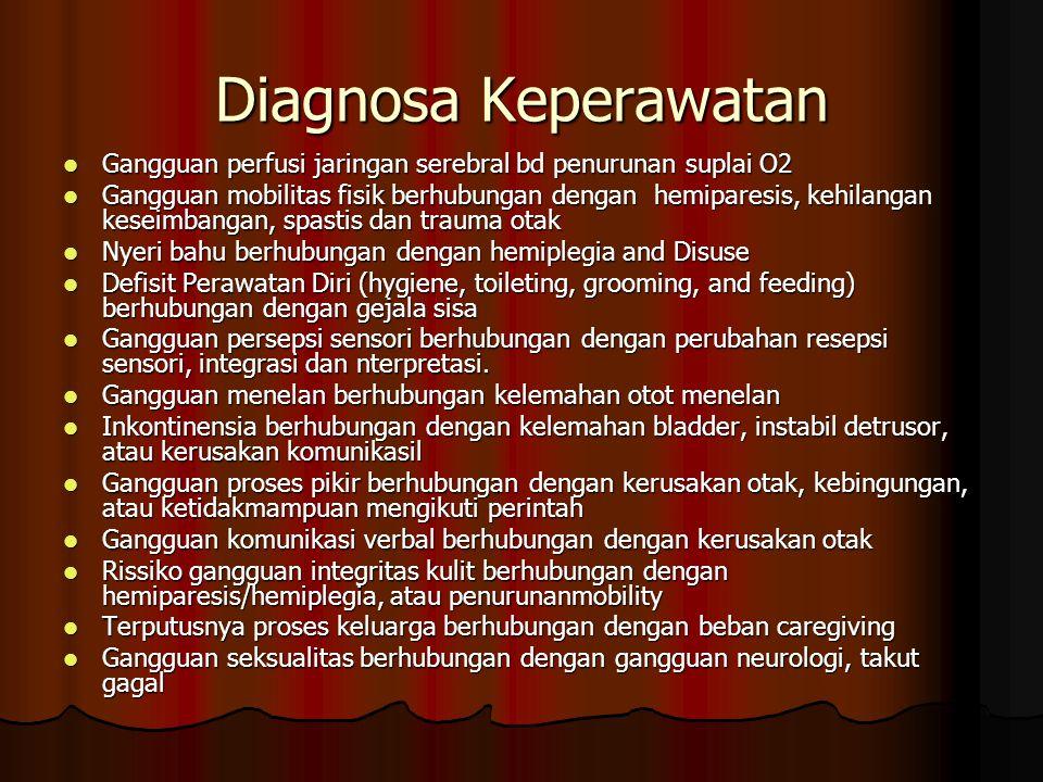Diagnosa Keperawatan Gangguan perfusi jaringan serebral bd penurunan suplai O2.