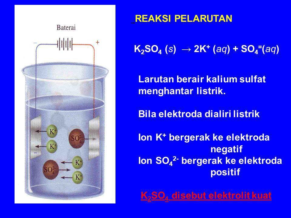 K2SO4 (s) → 2K+ (aq) + SO4=(aq)