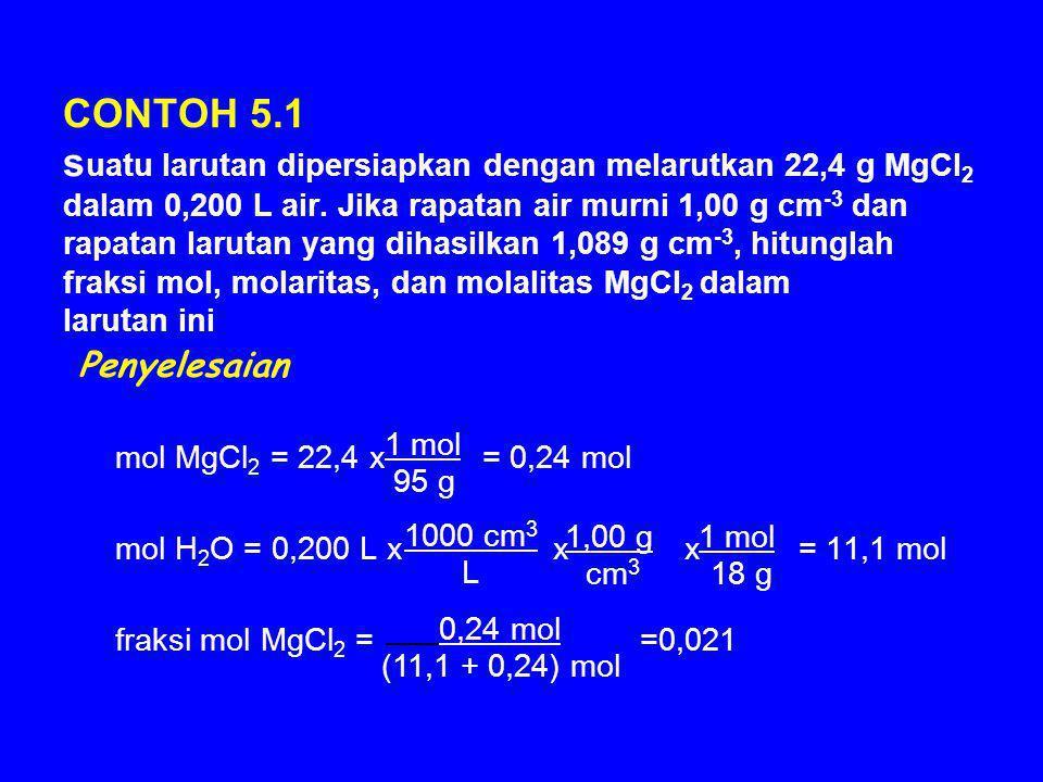 CONTOH 5.1 suatu larutan dipersiapkan dengan melarutkan 22,4 g MgCl2 dalam 0,200 L air. Jika rapatan air murni 1,00 g cm-3 dan rapatan larutan yang dihasilkan 1,089 g cm-3, hitunglah fraksi mol, molaritas, dan molalitas MgCl2 dalam larutan ini