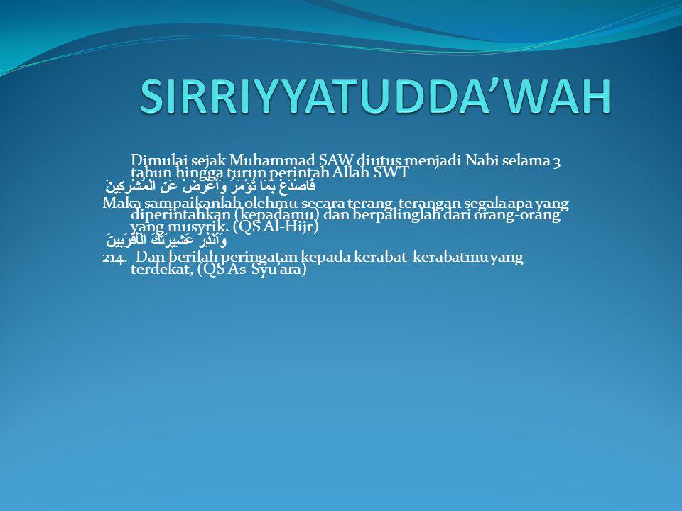 SIRRIYYATUDDA'WAH Dimulai sejak Muhammad SAW diutus menjadi Nabi selama 3 tahun hingga turun perintah Allah SWT.