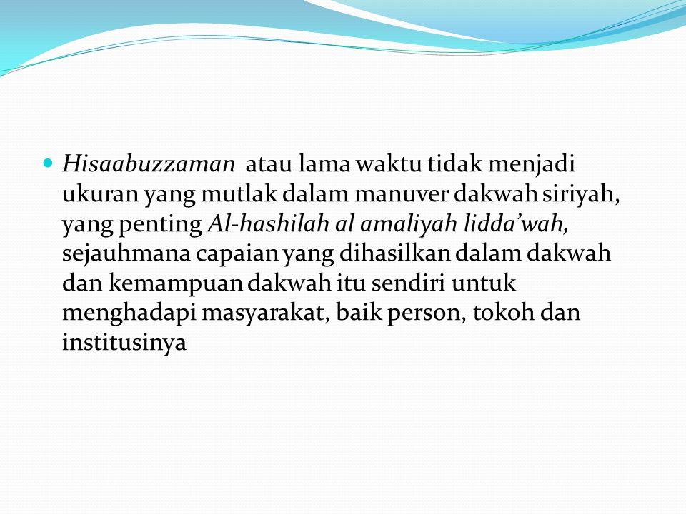Hisaabuzzaman atau lama waktu tidak menjadi ukuran yang mutlak dalam manuver dakwah siriyah, yang penting Al-hashilah al amaliyah lidda'wah, sejauhmana capaian yang dihasilkan dalam dakwah dan kemampuan dakwah itu sendiri untuk menghadapi masyarakat, baik person, tokoh dan institusinya