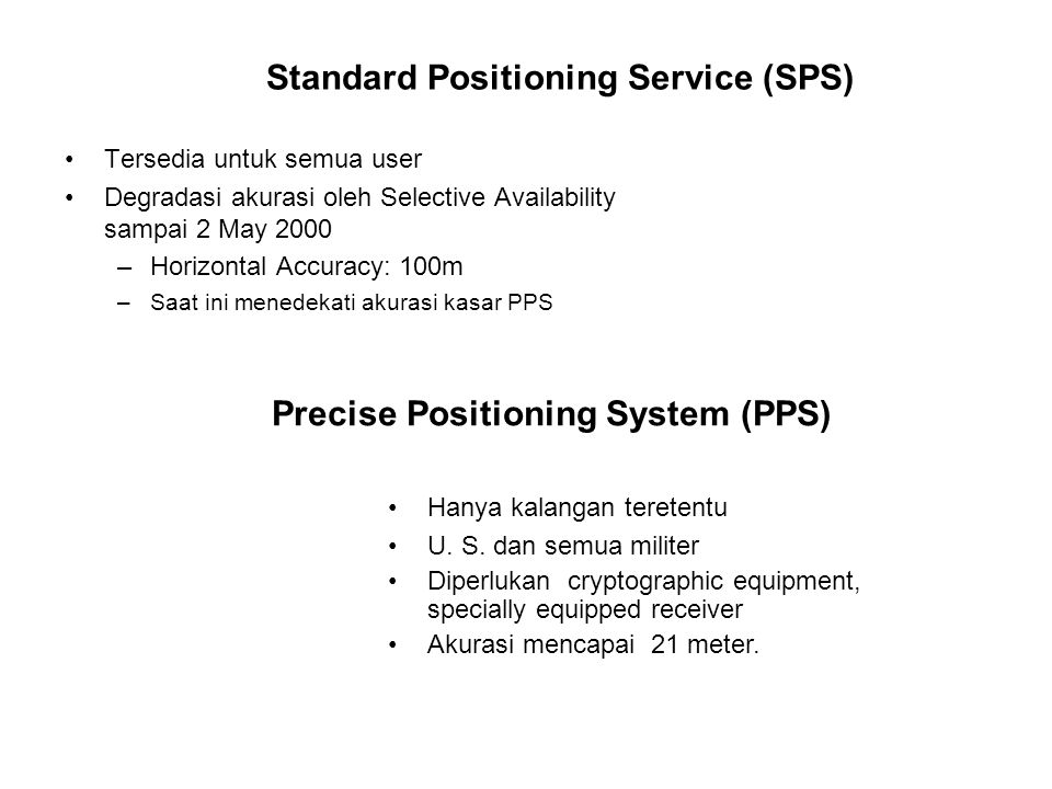 Standard Positioning Service (SPS)