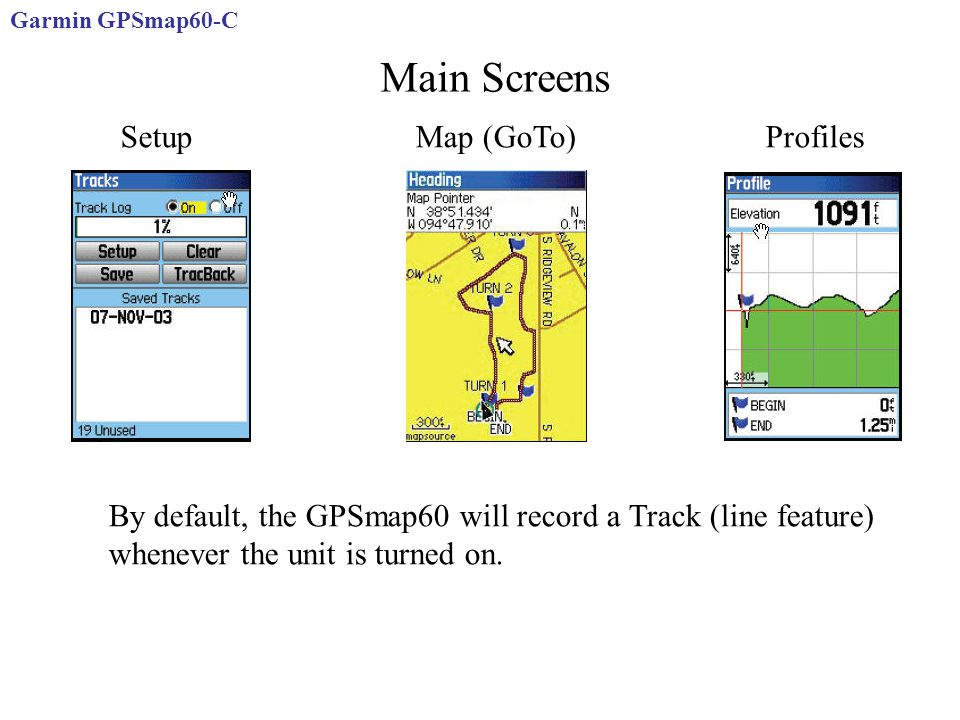 Main Screens Setup Map (GoTo) Profiles