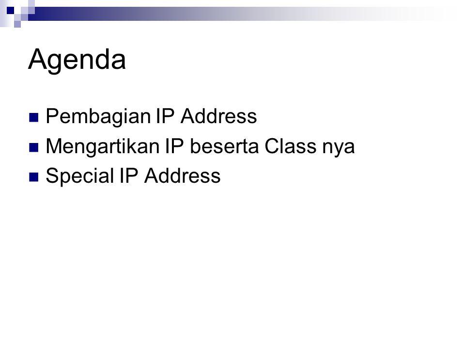Agenda Pembagian IP Address Mengartikan IP beserta Class nya