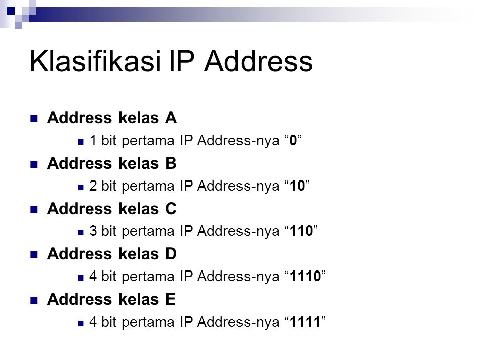Klasifikasi IP Address