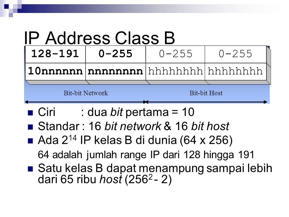 IP Address Class B 128-191 0-255 10nnnnnn nnnnnnnn hhhhhhhh