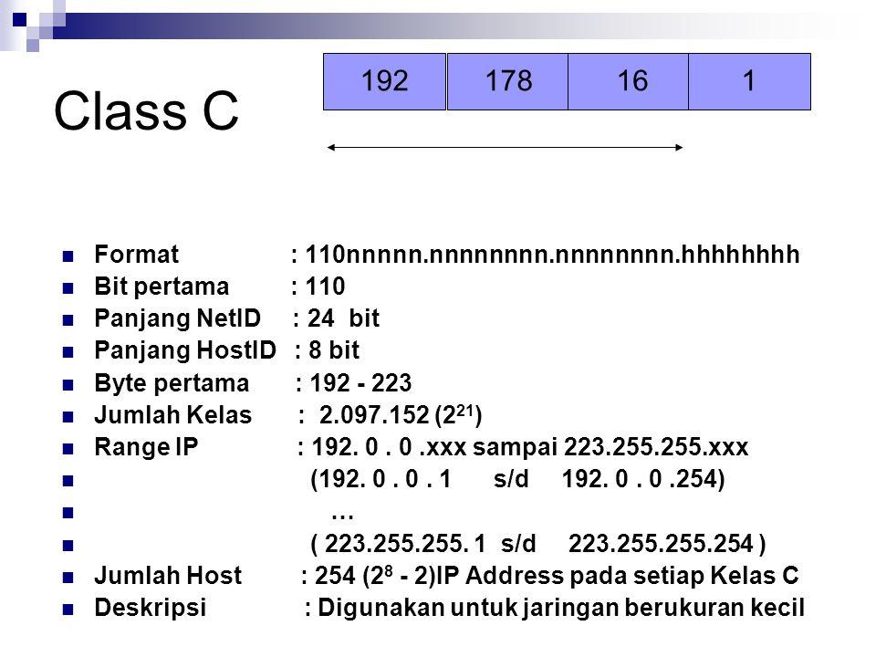 Class C 192 178 16 1 Format : 110nnnnn.nnnnnnnn.nnnnnnnn.hhhhhhhh