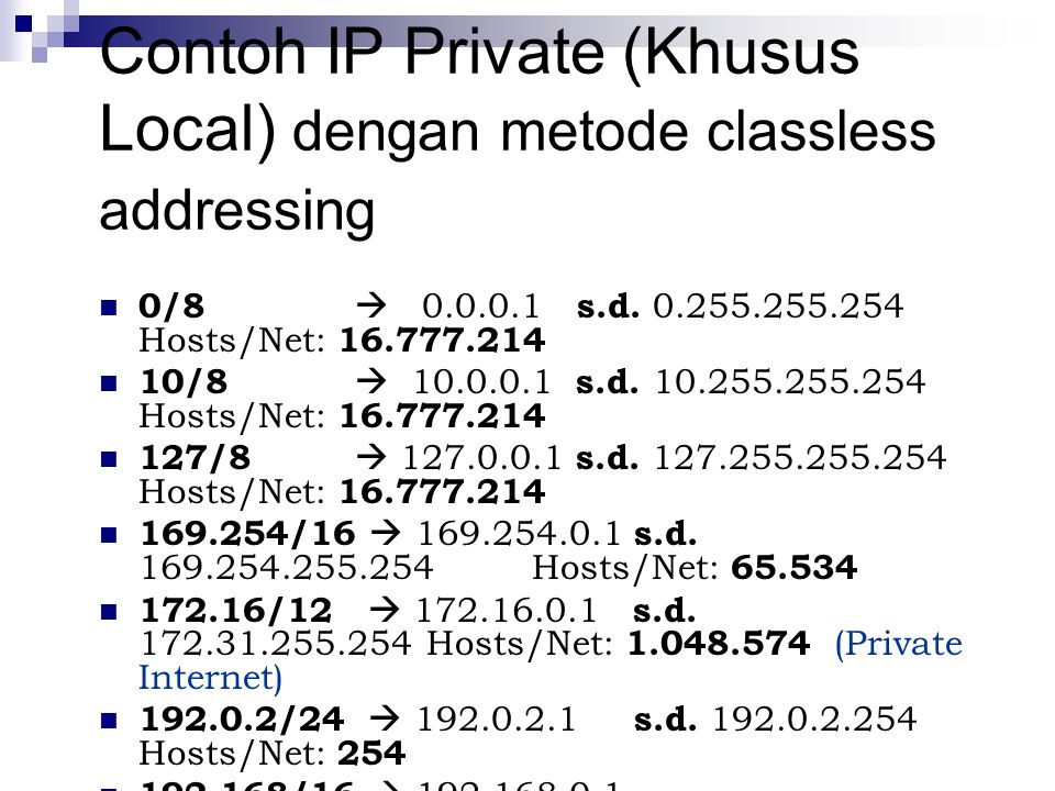 Contoh IP Private (Khusus Local) dengan metode classless addressing